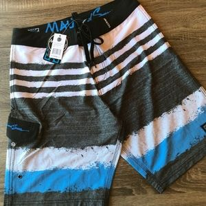 NWT Maui And Sons Swim/Board Shorts Gray/Blue/Blac